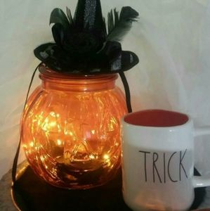 2 Orange Glass Halloween Jack O'Lantern Canisters